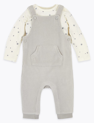 Marks and Spencer 2pc Cotton Velour Dungarees Outfit (0-12 Mths)