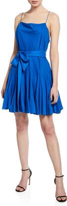 Alice + Olivia Webber Cowl-Neck Sleeveless Dress w/ Belt