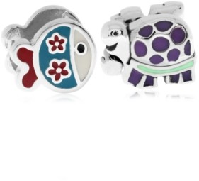 Rhona Sutton 4 Kids Children's Enamel Fish Turtle Bead Charms - Set of 2 in Sterling Silver