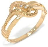 Tatitoto Vintage Women's Ring in 18k Gold with Diamond H/SI (total diamonds 0.01 ct), Size 10.5, 2.5 Grams