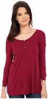 Three Dots Elena 3/4 Sleeve High-Low Henley