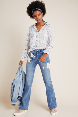 Pilcro And The Letterpress Pilcro High-Rise Rose Patchwork Bootcut Jeans By in Blue Size 25