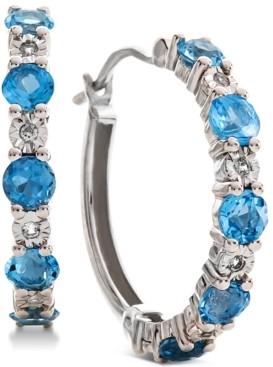 Macy's Garnet (1-1/8 ct. t.w.) & Diamond Accent Hoop Earrings in 14k Rose Gold (Also Available in Amethyst & Blue Topaz)