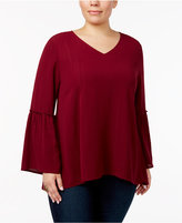 Style&Co. Style & Co Plus Size Metallic Bell-Sleeve Top, Created for Macy's