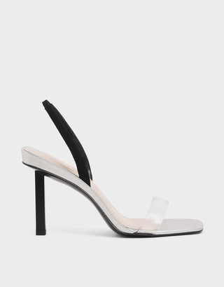 Charles & Keith Clear Strap Slingback Heels