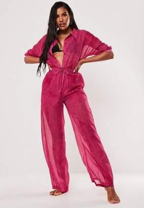 Missguided Pink Croc Print Chiffon Wide Leg Beach Trousers