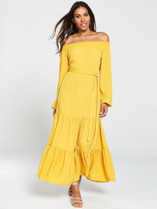 Very Bardot Tiered Maxi Dress - Mustard