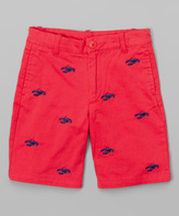 E-Land Kids Bali Navy Lobster Embroidered Shorts - Boys