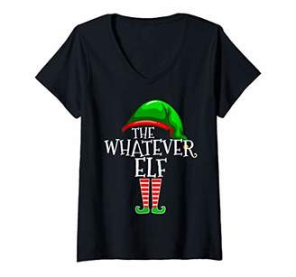 Womens The Whatever Elf Group Matching Family Christmas Gift Funny V-Neck T-Shirt