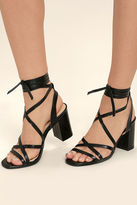Qupid Oni Black Lace-Up Heels