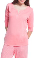Laura Ashley Clever Coral Notch Neck Henley