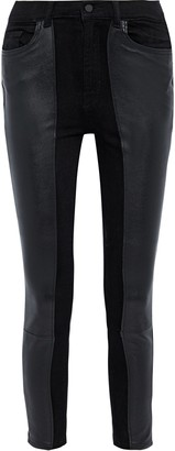DL1961 Farrow Leather-paneled High-rise Skinny Jeans