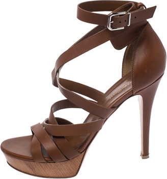 Gianvito Rossi Brown Leather Strappy Platform Ankle Strap Sandals Size 41