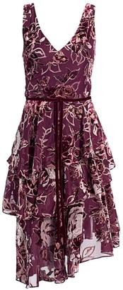 Marchesa Floral Velvet Burnout A-Line Dress