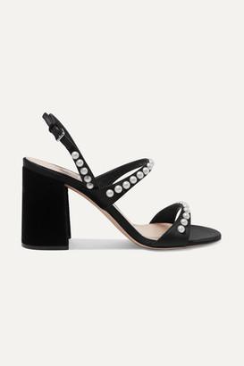 Miu Miu Faux Pearl-embellished Suede Slingback Sandals - Black