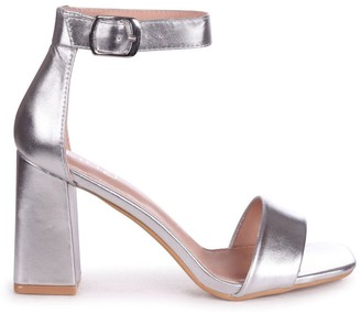 Linzi LATTE - Silver Leather Barely There Block Heeled Sandal