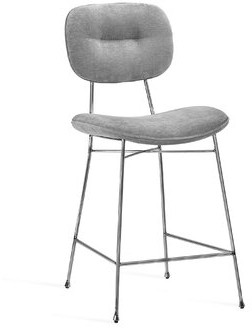 """Interlude Abner 26"""" Counter Stool Color: Polished Nickel, Upholstery: Ocean Gray"""