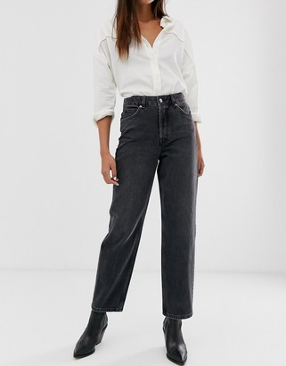 Selected high waist straight leg grey jeans