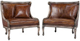 One Kings Lane Vintage Carved Leather Armchairs - Set of 2 - Castle Antiques & Design - brown, gilt