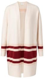 Ya-Ya Long Colour Block Striped Cardigan - M - White/Red