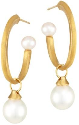 Dean Davidson Origami 22K Yellow Goldplated & 6-10MM Freshwater Pearl Charm Hoop Earrings