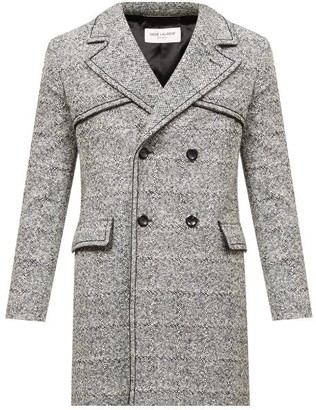 Saint Laurent Leather-piping Tailored Wool-blend Coat - Grey White