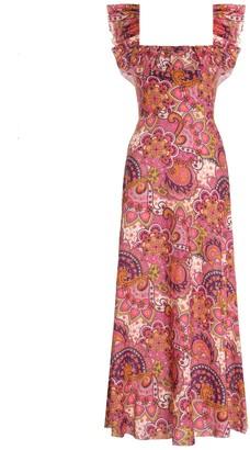 Zimmermann Fiesta Ruffle Neck Long Dress