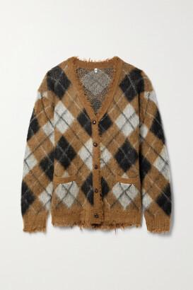 R13 - Distressed Argyle Jacquard-knit Cardigan - Brown