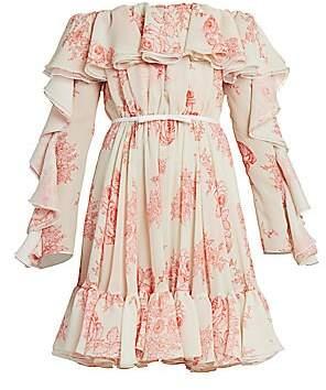 Giambattista Valli Women's Off-The-Shoulder Ruffle Silk Dress