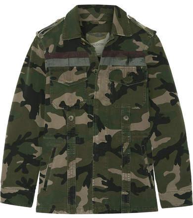 Valentino Striped Camouflage-print Cotton-gabardine Jacket - Army green