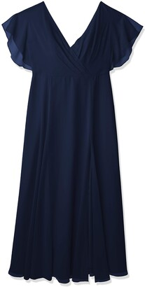Jenny Yoo Women's Hayes V Neck Flutter Sleeve Chiffon Dress