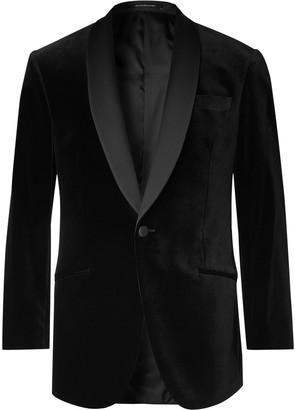 Richard James Black Hyde Slim-Fit Faille-Trimmed Cotton-Velvet Tuxedo Jacket