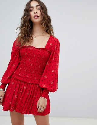 Free People Two Faces ruched waist mini dress-Red