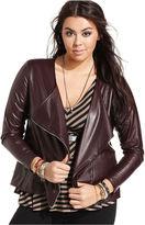 ING Plus Size Jacket, Faux Leather Motorcycle