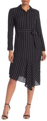 Nanette Lepore NANETTE Pinstripe Asymmetrical Hem Dress