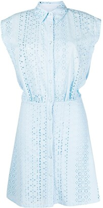 FEDERICA TOSI Broderie Anglaise Sleeveless Shirt Dress