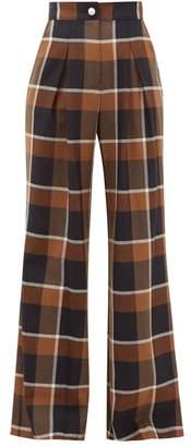STAUD Moon Checked Wool-blend Wide-leg Trousers - Womens - Brown Multi