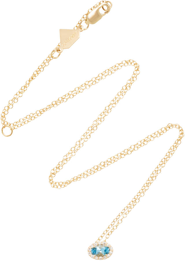 Alison Lou 14K Gold Topaz Diamond Necklace