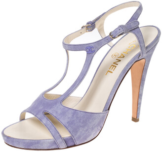 Chanel Purple Suede Strappy Sandals Size 40.5