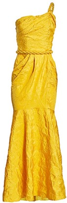 Johanna Ortiz La Carolina Crinkle Taffeta One-Shoulder Gown