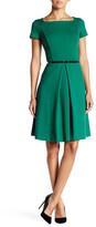 Ellen Tracy Short Sleeve Belted Fit & Flare Dress