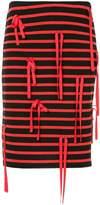 Goen.J ribbon-embellished jersey skirt