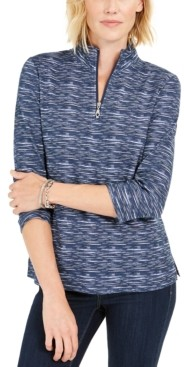 Karen Scott Zip-Neck Pullover