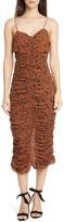 Nicholas Leopard Print Ruched Silk Dress