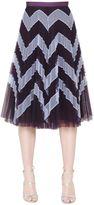 Mary Katrantzou High Waist Zigzag Plisse Tulle Skirt