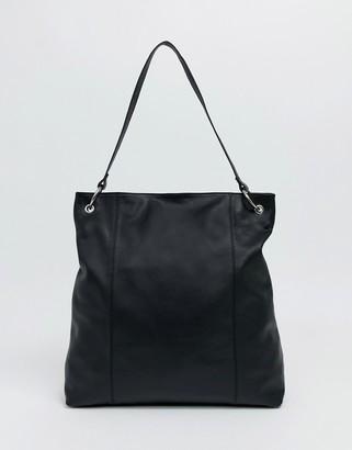 Asos Design DESIGN leather shopper bag with ring detail-Black