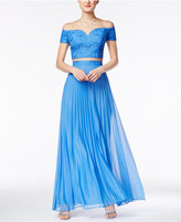 B. Darlin Juniors' 2-Pc. Off-The-Shoulder Pleated Gown