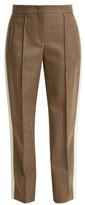 Fendi Side-stripe Wool-blend Twill Trousers - Womens - Grey