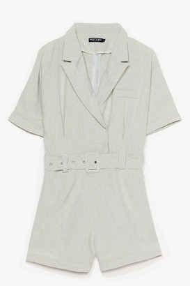 Nasty Gal Womens Belted in the Sun Tailored Romper - Sage