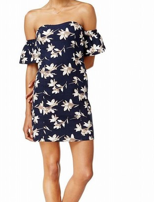 J.o.a. Women's Flower Print Off The Shoulder Fitted Dress